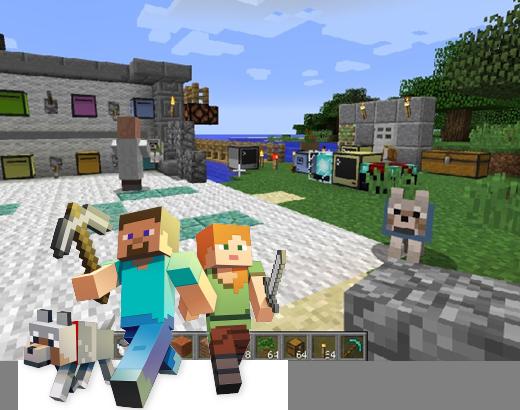 Minecraftプログラミングの様子